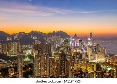 Beautiful modern city night view,Hongkong