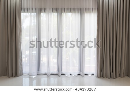 beautiful modern grey white curtains living stock photo (edit now