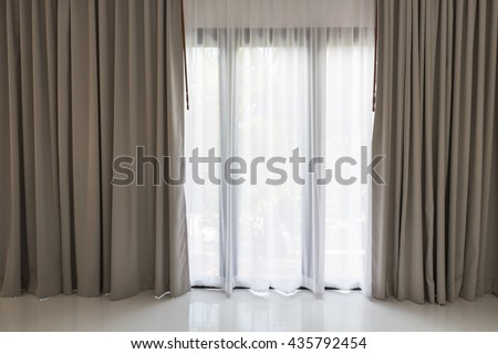 Beautiful Modern Grey White Curtains Living Stock Photo (Edit Now ...