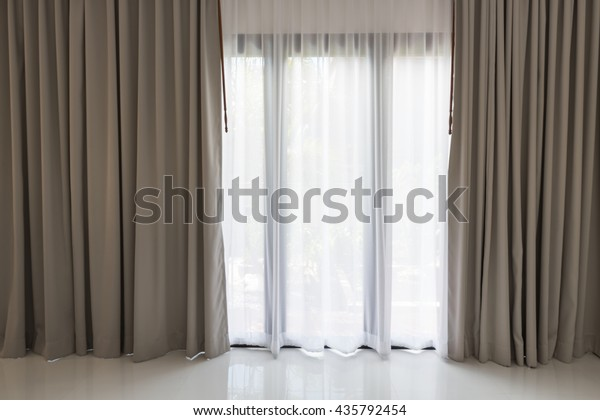 Beautiful Modern Grey White Curtains Living Stock Photo ...