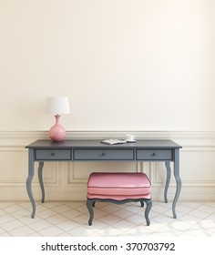 Beautiful modern interior with gray table and pink ottoman near empty beige wall. 3d render.