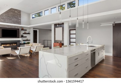 Beautiful Modern Kitchen and Living Room In New Contemporary Style Luxury Home with Open Concept Floor Plan. Features Large Waterfall Island and Hardwood Floors. Living Room has Fireplace and TV.