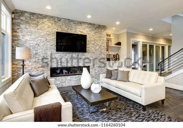 Beautiful Modern Living Room Interior Stone Stock Photo (Edit Now ...
