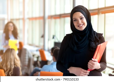 beautiful modern Muslim businesswoman portrait in office