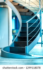Beautiful modern stairs inside a business ofiice.Modern office chair in business office. Corporate concept