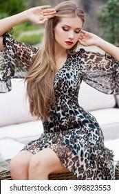 Beautiful modern woman with long hair.