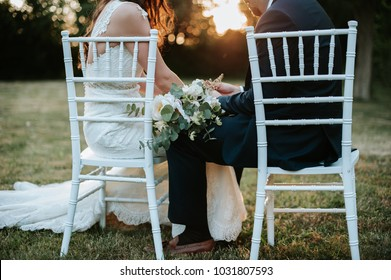 Beautiful moment between groom and bride in their wedding day.