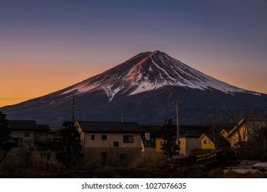 Beautiful moment during sunrise at Mountain Fuji in winter season, Japan