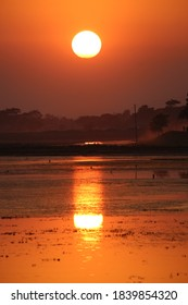 A beautiful moment of sunset on the banks of the Haor