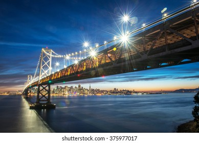 Beautiful momoent of Bay Bridge during sunset, San Francisco