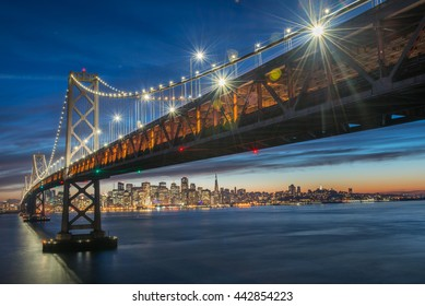 Beautiful momoent of Bay Bridge during twilight, San Francisco