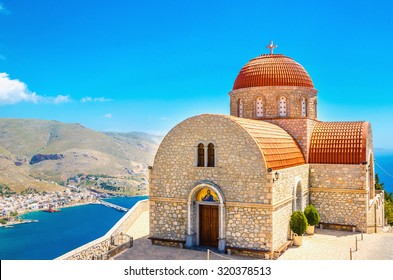 Beautiful Monastery of Agios Savvas located on top of a hill above Pothia Town, the capital of Kalymnos, Dodecanese, Greece