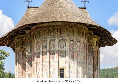 Beautiful monastery in Romania at Gura Humorului