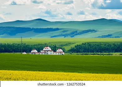 The beautiful Mongolia yurts in the summer Hulunbuir grassland, China.