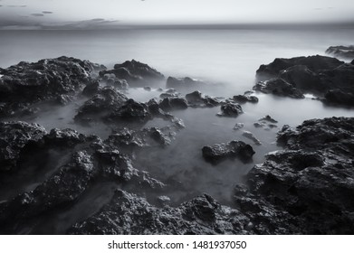 Beautiful monochrome seascape. Composition of nature.