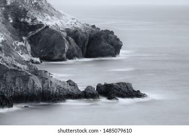 Beautiful monochrome seascape. Long exposure. Composition of nature.