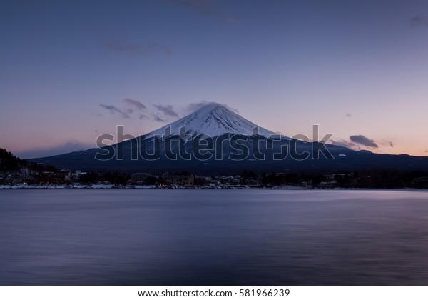 Beautiful Month Fuji with Sunset seen from Kawaguchi Lake.