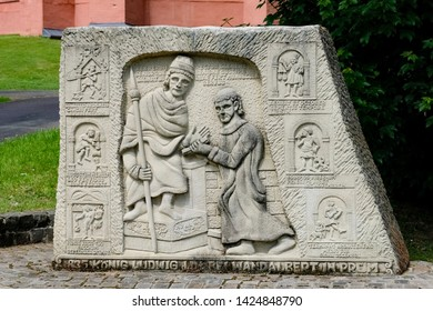 Beautiful monument, entrance to the public park of the Abbey Pruem, Germany
