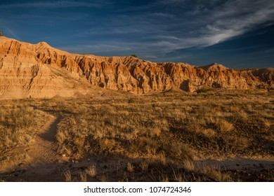 Beautiful moody landscape of Cathedral Gorge State Park at sunset in Nevada, USA.
