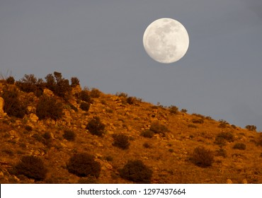Beautiful moon rises above ridge top glowing red in sunset light on Mt. Lemmon Scenic Byway at Babad Do'Ag Overlook.