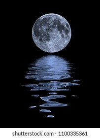 A beautiful Moon shot with a water reflection. Image elements furnished by NASA