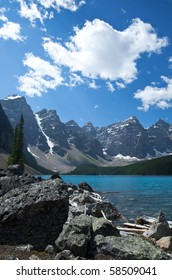 Beautiful Moraine Lake in the Alberta Rockies.