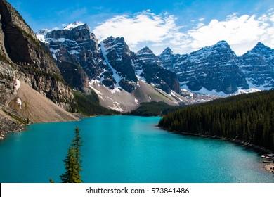 Beautiful Moraine Lake near Lake Louise in Alberta in the Canadian Rockies, Canada