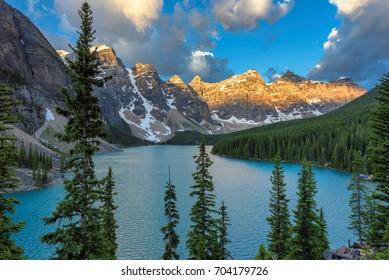 Beautiful Moraine Lake at sunrise in the Canadian Rockies, Canada.