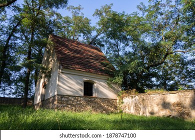 Beautiful morgue at abandoned Jewish cemetery with trees in background, Czech republic, sunny summer day, clear blue sky