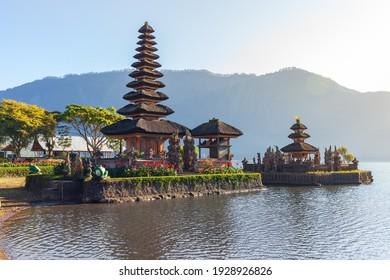 Beautiful morning at Bali lake Beratan temple - Indonesia