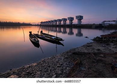 A beautiful morning Floodgates, Nakhon Si Thammarat, Thailand irrigation.