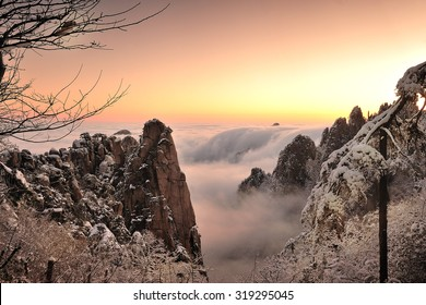 Beautiful morning landscape of Huangshan mountain at first snow, Southern Anhui province, China