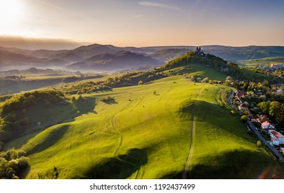 Beautiful morning landscape. View of calvary in Banska Stiavnica, UNESCO, Slovakia. Spring colors.