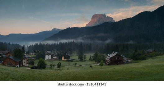 Beautiful morning over village San Vito Di Cadore in Italian Dolomites,