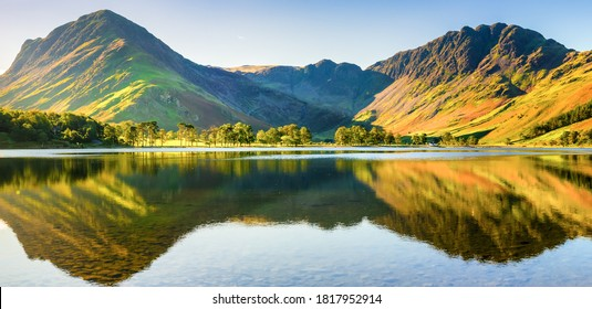 Beautiful morning panorama  				 of Buttermere lake in the Lake District. England