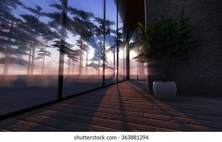 Beautiful morning rays of sun. View of nature through the windows. Render Image