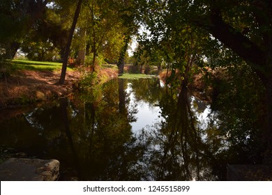 Beautiful morning reflections on the pond during fall season at Hart Memorial Park, Bakersfield, CA.