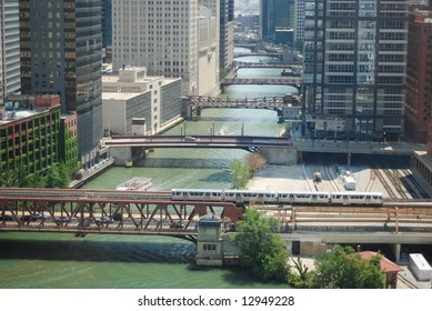 Beautiful morning scene of Chicago with bridges aligned along the river.