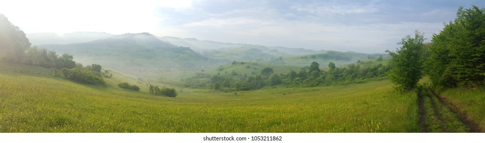 beautiful morning scenery in the hills of Transylvania