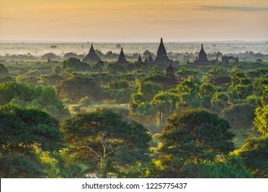 Beautiful morning scenery of Old Bagan, Myanmar
