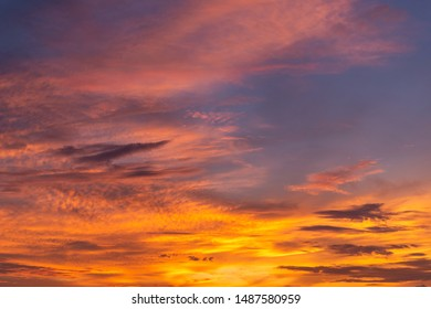 Beautiful morning sky with orange and red clouds.