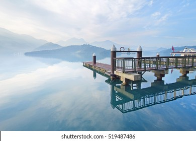 Beautiful morning with sky reflect in the lake at Sun Moon Lake, Taiwan.