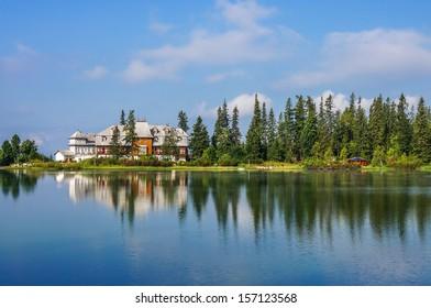 Beautiful morning at Strbske Pleso mountain lake, National Park High Tatra (Vysoke Tatry), Slovakia