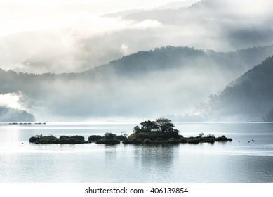 The beautiful morning at Sun Moon Lake, Yuchi, Taiwan.