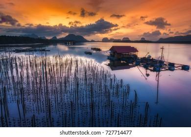 Beautiful  morning sunrise at Ban Sam Chong Tai, Phang-nga province,Thailand