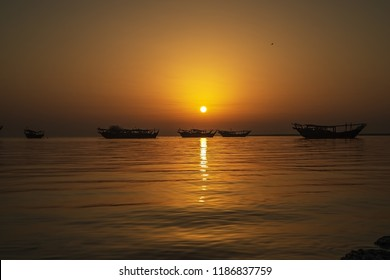 Beautiful morning sunrise at Dammam Corniche -Saudi Arabia