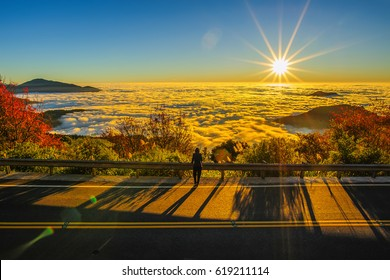 Beautiful morning sunrise, dramatic cloud of sea,bright blue sky in Alishan(Ali mountain) National Park, Taiwan