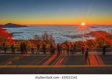 Beautiful morning sunrise, dramatic cloud of sea,bright blue sky in Alishan(Ali mountain) National Park, Taiwan