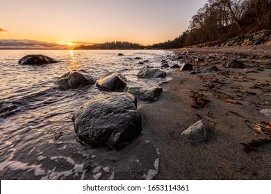 Beautiful morning sunrise at Kye Bay, Vancouver Island, British Columbia, Canada.