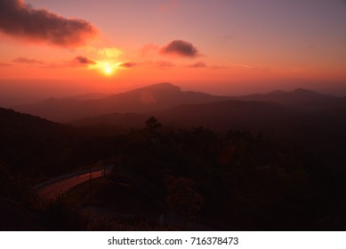 beautiful morning sunrise with Road in the foreground at Doi Inthanon Chiang Mai